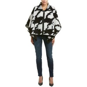 NWT french connection wool black and white cape L